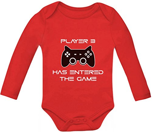 Price comparison product image Player 3 Has Entered The Game - Gift Third Child Gamer Baby Long Sleeve Bodysuit 6M Red