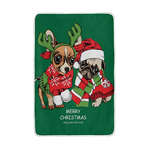 Puppies Pug And Chihuahua In A Xmas Costumes Lightweight And Durable Bed/Couch Warm Blankets Super Soft Cozy Polyester Microfiber Hypoallergenic Blanket 60x90 Inch for Kids Women,Green