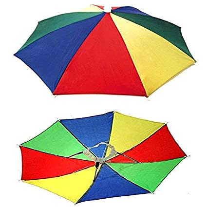 9f1f17ca55c Buy Auf Protect From Sun and Rain for School Going Kids and Adults India  Nylon and Plastic Hands-free Rainbow Umbrella Hat Online at Low Prices in  India ...