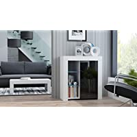 MILANO Sideboard 1D – Single door dresser with High Gloss front finish and LED-illuminated shelves (White & Black)