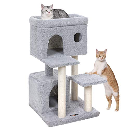 at Tower with Large Viewing Perch, Cat Condo in Faux Fleece, Two Cuddle Caves, for Kittens and Old Cats, Posts Completely Wrapped in Sisal, Stable, Light Grey UPCT69W ()