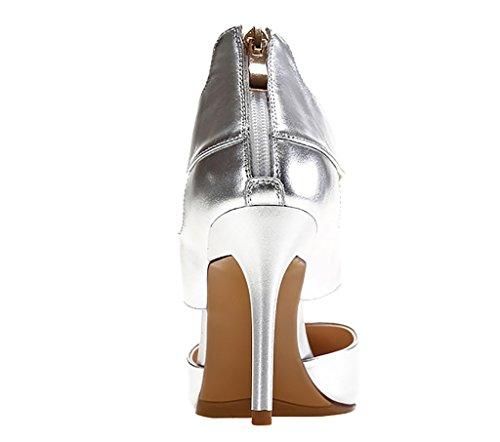 Calaier Mujer Caactivity Tacón De Aguja 9CM Sintético Cremallera Sandalias de vestir Zapatos Plateado