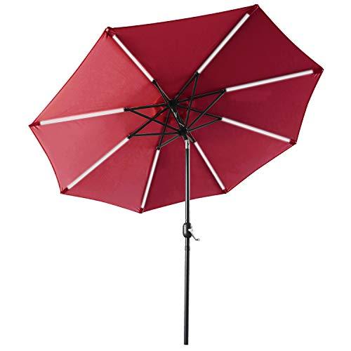 (ABCCANOPY Patio Umbrella Solar Powered Outdoor Umbrella, 9 FT Market Umbrella 8 Ribs with Solar LED Light Bars, Push-Button Tilt and Crank (Burgundy))