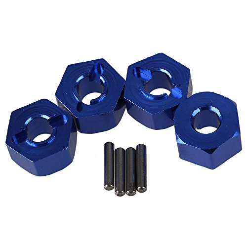 BQLZR Dark Blue SLA016 Aluminum Alloy Wheel Hub Hex 12x7mm Mount and Pin Upgrade Parts for TRAXXAS SLASH 4X4 & HQ727 Short Truck RC Car Pack of 4