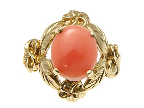 Natural Coral Pink Flower (Genuine natural pink coral ring Hawaiian plumeria flower maile 14k yellow gold size 8)