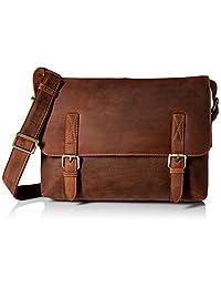 Visconti Wesley Large Distressed Leather Messenger Shoulder Bag Handbag, Tan, One Size