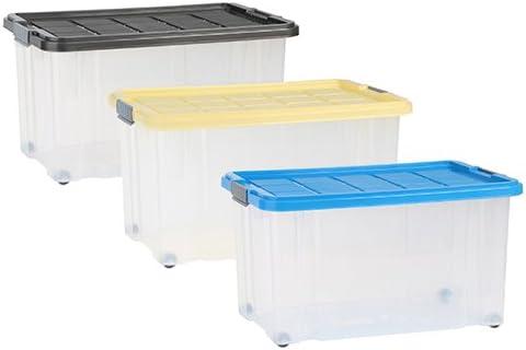 Axentia 235874 - Caja de plástico con tapa y ruedas, 60 x 40 x 34 ...