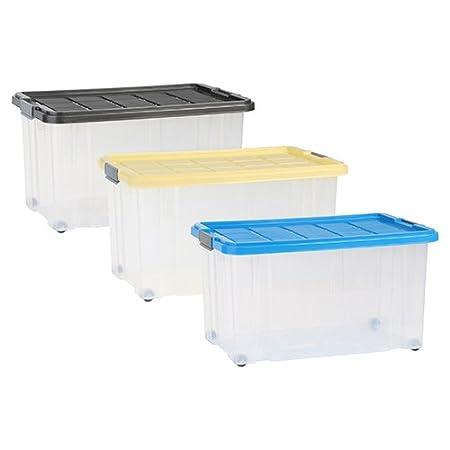 axentia Aufbewahrungsbox mit Rollen & Deckel, Stapelbox aus Kunststoff 55 Liter, Eurobox transparent, Maße: ca. 60 x 40 x 34