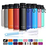 Arteesol Water Bottles 17/25/34 oz (500/700/1000 ml) BPA Free Vacuum Insulated 18/8 Stainless Steel Leak-Proof Double-Walled Wide Mouth Thermos for Sports Gym Workout, Cold or Hot for 12h