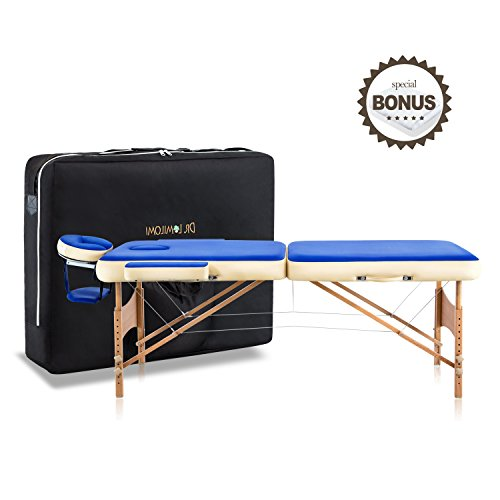 Dr.lomilomi Bicolor 28″ Portable Massage Table 002 Spa Bed with Carry Case and Cover Sheet Set (Persian Blue-Vanilla)