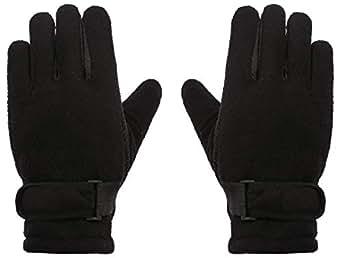 WDSKY Kids Gloves Polar Fleece for Skiing Winter Thermal Black