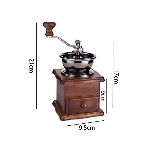 Finlon Classical Wooden Mini Coffee Grinder Manual Coffee Mill With High-quality Porcelain Movement