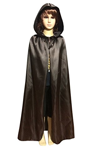 Satin Silk Halloween Christmas Party Vampire Hooded Cloak Cosplay Dress Cape (45