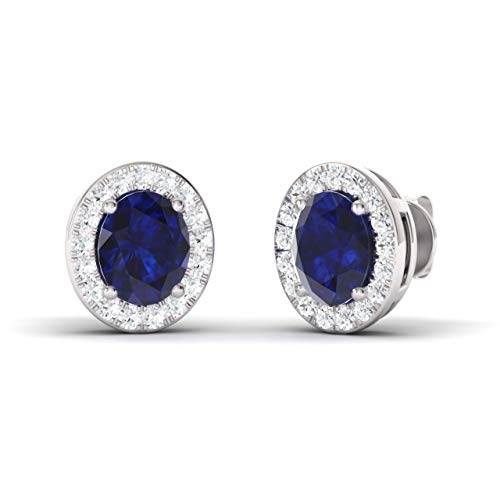- Diamondere Natural and Certified Oval Cut Blue Sapphire Halo Diamond Earrings in 14K White Gold | 1.10 Carat Earrings for Women