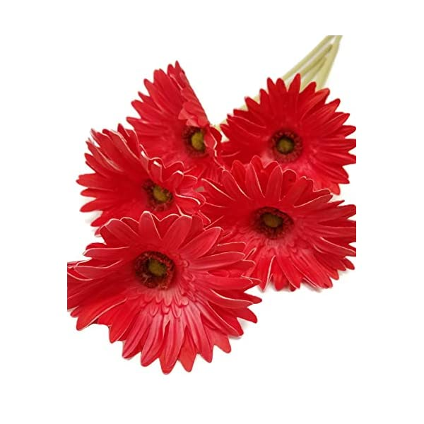 Meide Group USA 24″ (2 ft) Tall Real Touch Latex Gerbera Daisy Artificial Flowers for Home Decor, Weddings. Improved Version (5 pcs) (Red)