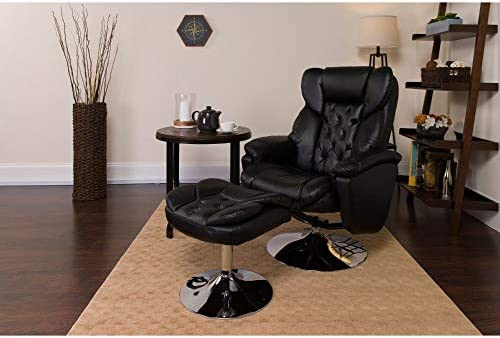 Flash Furniture Transitional Multi-Position Recliner and Ottoman with Chrome Base in Black LeatherSoft