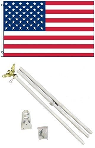 Moon 3x5 USA American 50 Star Flag w/6 Ft White Flagpole Fla