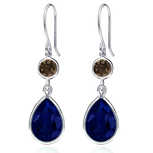Gem Stone King 12.30 Ct Blue Simulated Sapphire Brown Smoky Quartz 925 Sterling Silver Earrings