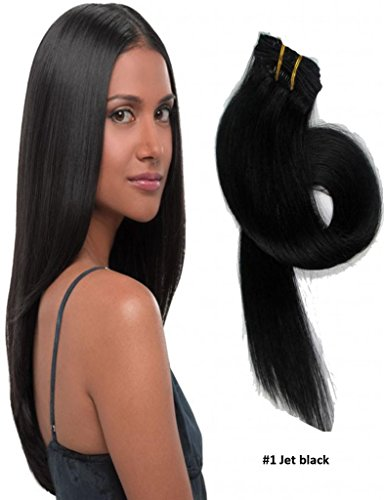 """20"""" Straight Clip in Remy Human Hair Extensions 1# Jet Black 7pcs 70g"""