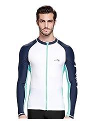 Women's/Men's UV Sun Protection Wetsuits Basic Skins Long Sleeve Crew Rash Guard Shirt (Men, XXL)