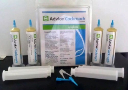 advion 4 Tubes and 4 Plungers Cockroach German Roach Pest Control Insecticide Bait Gel, Kill German, American, Australian, Smoky, Brown