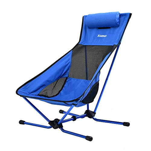 XMmux Ultralight 350lbs Comfortable Aluminum Folding Camping Chair, Portable Lightweight Extral Tall Wide Compact Chairs for Backpacking, Travel, Beach, Picnic, Festival Hiking with Carry Bag