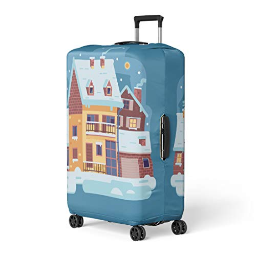 - Semtomn Luggage Cover Snowy Scene Country Winter Home Smoking Chimney on Village Travel Suitcase Cover Protector Baggage Case Fits 26-28 Inch
