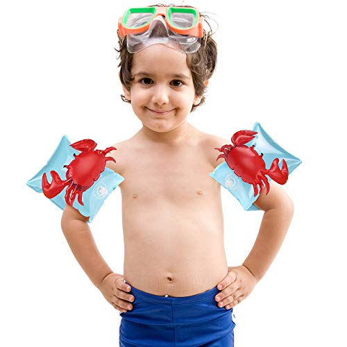 Sealive Arm Floaties for Kids Toddlers, Inflatable Swim Arm Bands Crab Swim Trainer Pool Float Swim Vest, Safety Floater Floatation Sleeves Water Wings Swimming Rings Tube Armlets for Travel