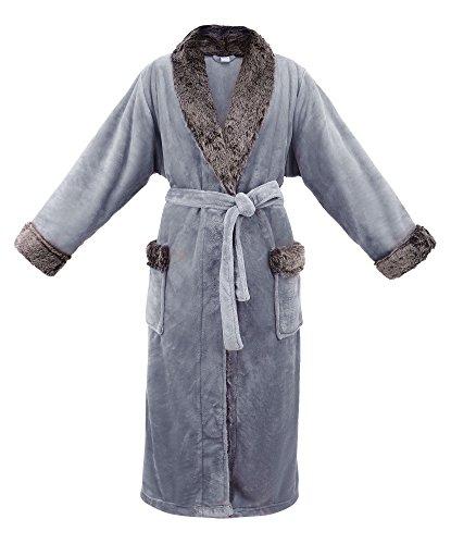 Livingston Womens Pocket Velvet Fleece Bathrobe Winter Robe Faux Fur Trim, Grey ()