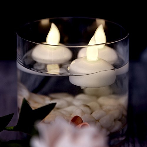 AGPTEK 12 PCS Waterproof Tea Lights, Battery Operated Flameless Floating Candles for Wedding Party Decoration - Warm White