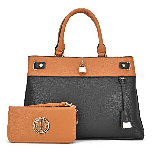 MMK Fashion women's Handbag~ Pad Lock Satchel handbag Top soft vegan Leather Tote bag Hobo purse for Ladies (E-8015-(BR/BK))