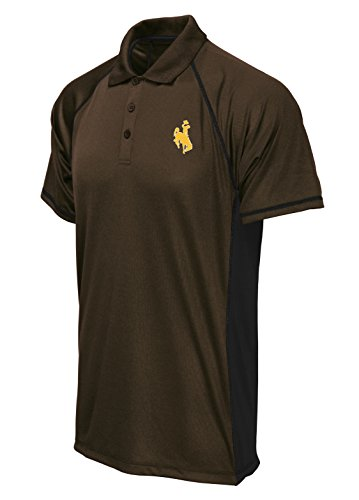 Cowboy Panels - NCAA Wyoming Cowboys Poly Polo with Panels, Brown/Black, Medium