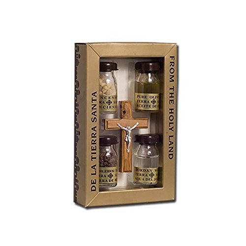 Nana gifts Olive Wood and Pewter Plated Crucifix with 4 Holy Land Elements