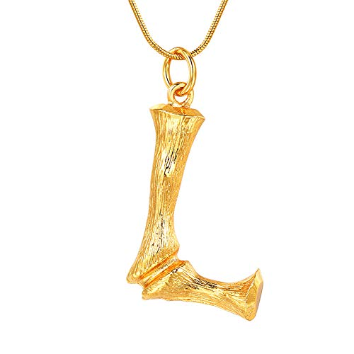 FOCALOOK Initial Necklace, 18k Gold Plated Bamboo Monogram Capital Alphabet Charms Surgical Stainless Steel Pendant with Snake Chain Women Men Party Fashion Jewelry Letter Necklace(L)