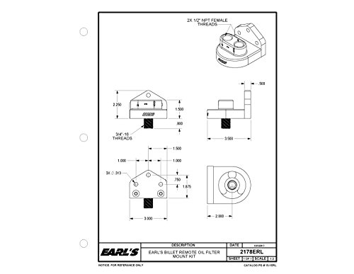 Earl's 2178ERL Billet Remote Oil Filter Mount Kit (7.5121R)
