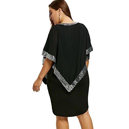 IDeesse Women's Plus Size Half Sleeves Round Collar Sequined Capelet Midi Dress