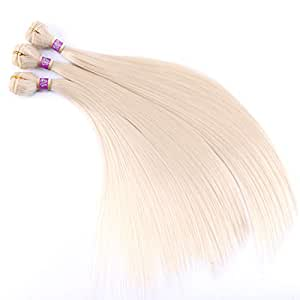 3 Bundles Silky Straight Synthetic Hair Weave Extensions Blonde 16 18 20 Inches(613#)