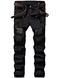 Men's Black Stylish Casual Slim Fit Stretch Straight Leg Patchwork Biker Jeans Pants With Broken Holes
