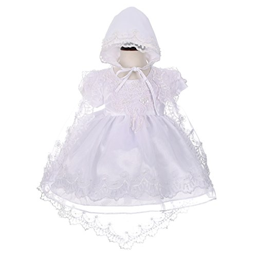 Dressy Daisy Baby Girls' Beaded Scalloped Embroideries Baptism Christening Gown Dress With Cape And Bonnet Infant Size 3-6 Months White Beaded Silk Organza Dress