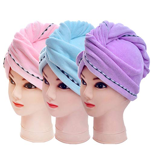 3 Pack Microfiber Hair Towel Wrap BEoffer Super Absorbent Twist Turban Fast Drying Hair Caps with Buttons Bath Loop Fasten Salon Dry Hair Hat Pink Blue Purple by BEoffer (Image #8)