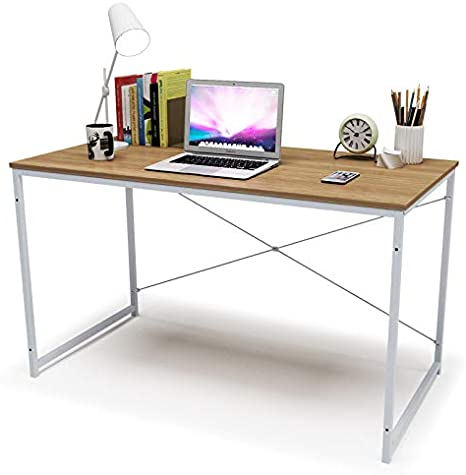 WOLTU TSB04hei Scrivania Studio Tavolo da Lavoro Ufficio PC Scaffale Moderno Libreria in Acciaio Legno 120x60x70cm