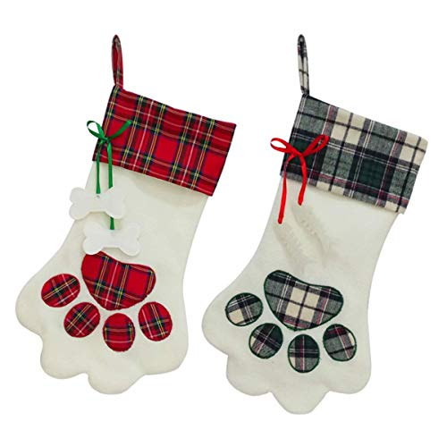 SherryDC Dog Cat Paw Christmas Stockings Set of 2, Plush & Plaid Hanging Socks for Holiday and Christmas Decorations