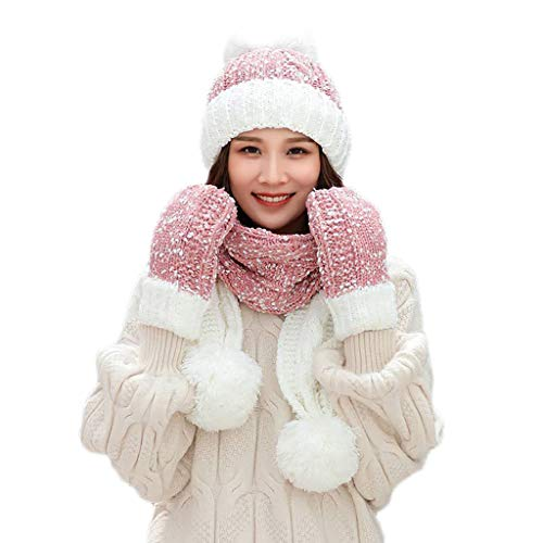 TUSANG Women Winter Warm Multicolor Knitted Cute Beanie Hat+Scarf+Gloves Set(Pink,Free Size)
