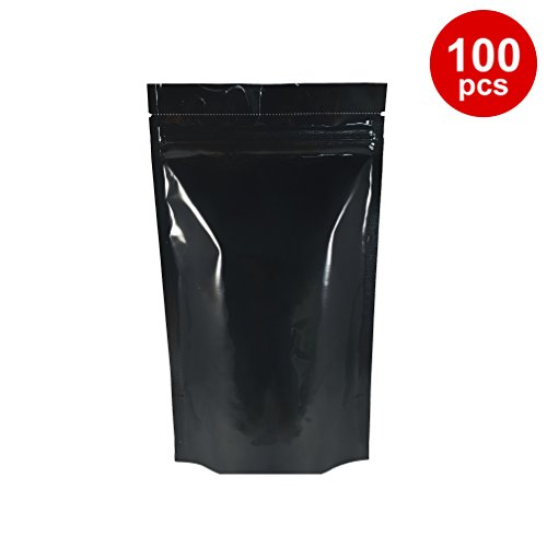 Black Mylar Stand Up Bags Pouches with Zipper 6 X 9 X 3.5 inches (8 Oz) 100 pcs