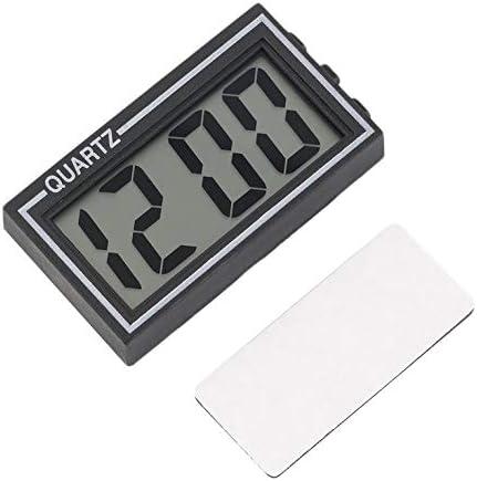 Schwarzer Kunststoff kleine digitale LCD-Tabelle Auto Armaturenbrett Schreibtisch Datum Uhrzeit Kalender kleine Uhr mit Kalenderfunktion TS-CD92 - wie das Bild zeigt