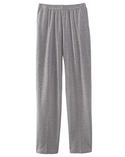UltraSofts Elastic-Waist Interlock Pull-On Pants, Heather Gray, Petite Large