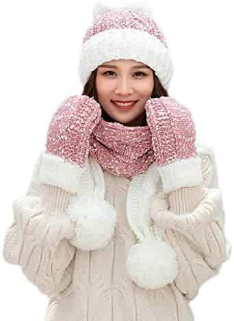 1063fa1871584 FarJing 3Pcs Women Winter Warm Multicolor Knitted Hair Ball Beanie Hat Hat +Scarf+Gloves