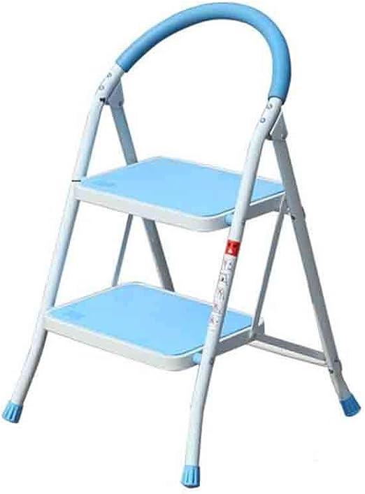 MMAXZ Escalera de Dos Pasos Escalera Plegable de Taburete con empuñadura Antideslizante Robusto y Amplio Pedal Ancho Multiuso para hogar y Oficina Taburete de Acero portátil (Color : Azul): Amazon.es: Hogar