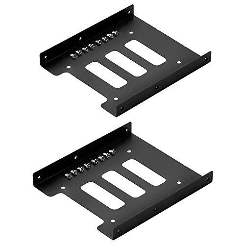 (SIENOC 2PK SSD Tray 2.5 inch to 3.5 inch SSD / HDD Adapter Bracket Metal Mounting Kit Bracket Dock Hard Drive Holder Compatible SATAI SATAII SATAIII Color Black)
