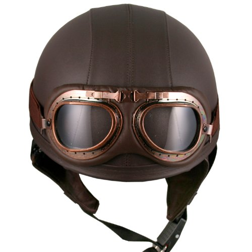biker goggles  Leather Brown Motorcycle Goggles Vintage Garman Style Half Helmets ...